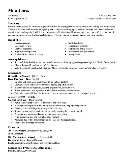 Trial Attorney Sample Resume Resume Examples Student Resume