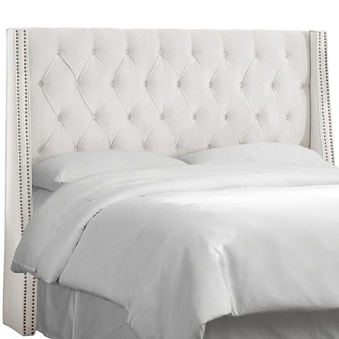 Skyline Tufted Nail Button Wingback Headboard In Velvet White