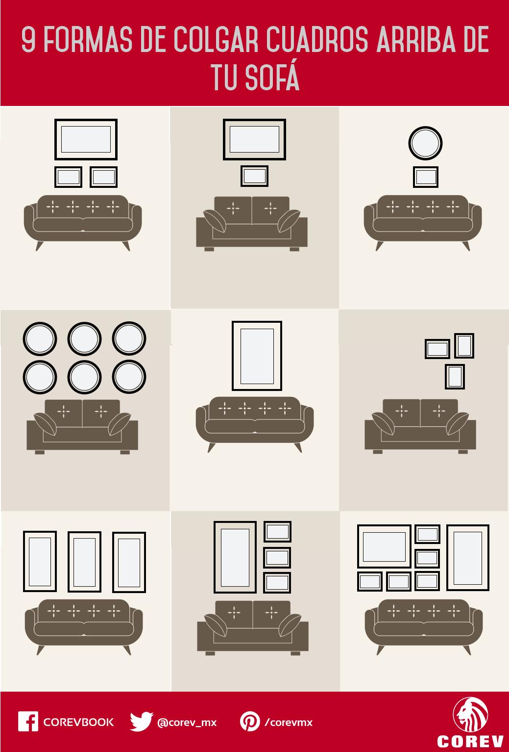 9 Increíbles maneras de colgar cuadros en la pared detrás de tu sofá. Ahora ya sabes cómo colocar tus fotos y recuerdos favoritos o tus obras de arte favoritas.   #Corevtips