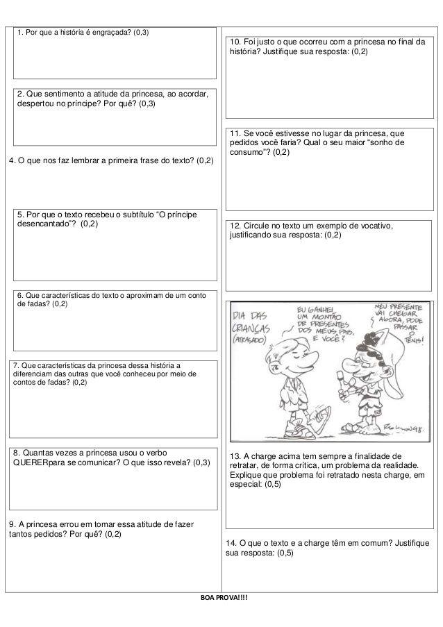Prova De Lingua Portuguesa O Principe Desencantado Atividades