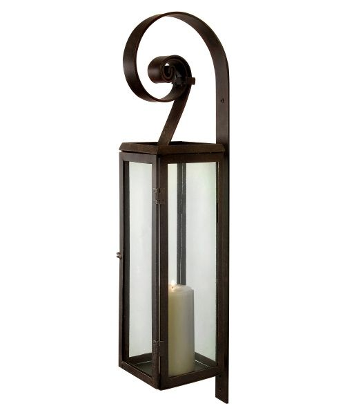 rustic scroll rectangular pillar candle lantern wall sconce cc home furnishings jj