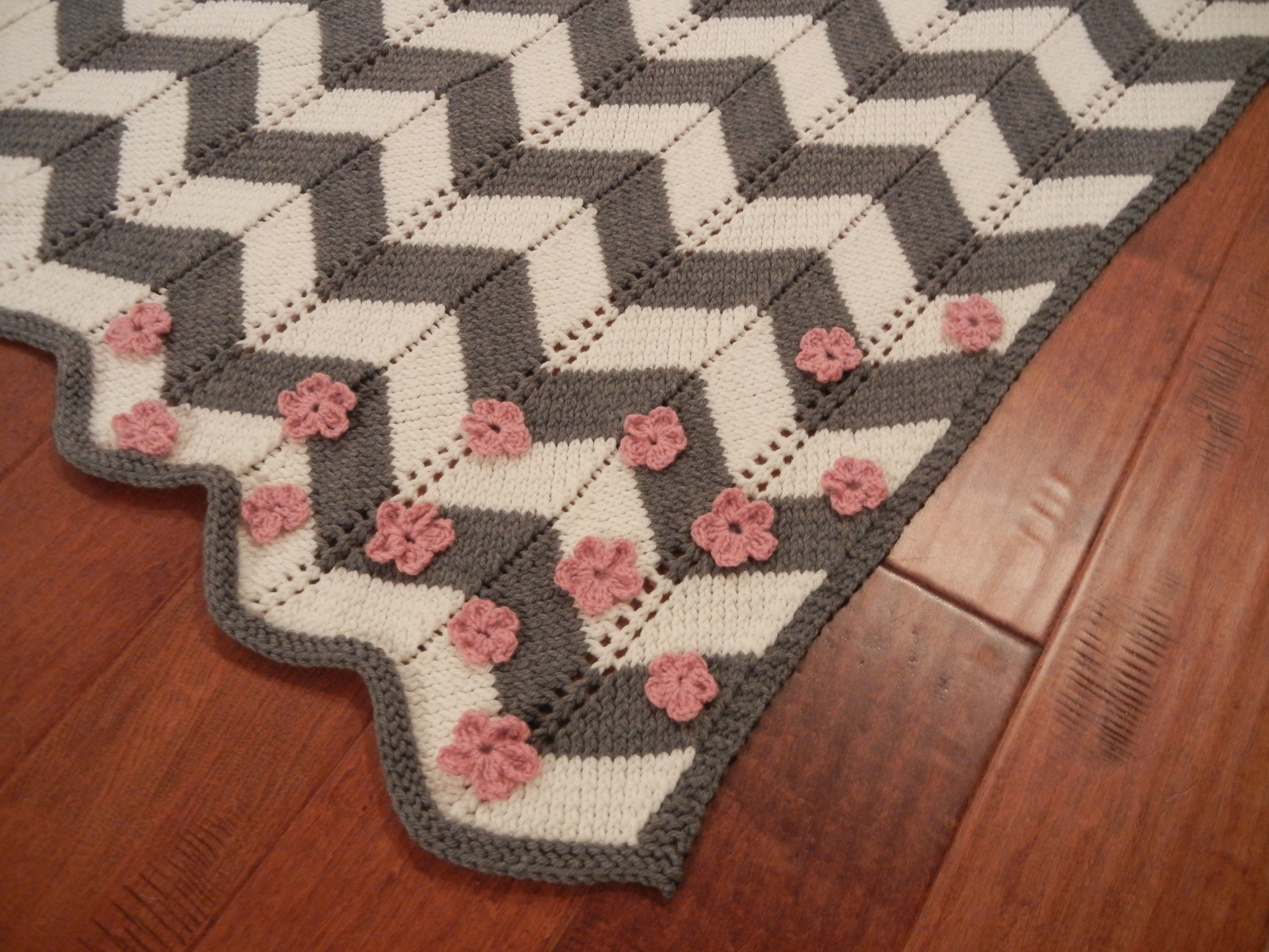 Crocheted Flowers on Baby Blanket