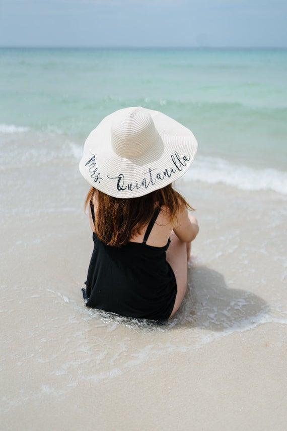 Personalized Honeymoon Floppy Beach Hat Personalized Beach Hat