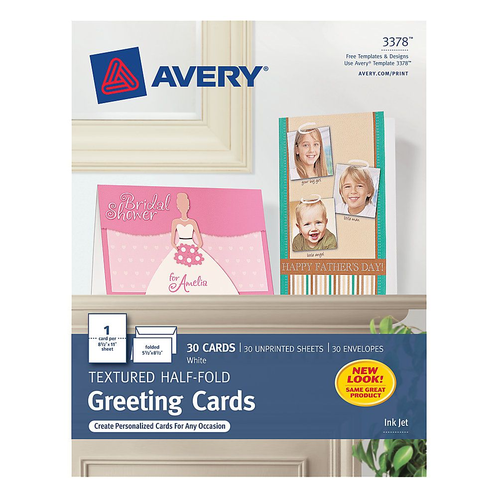 Avery halffold textured greeting cards 5 12 x 8 12