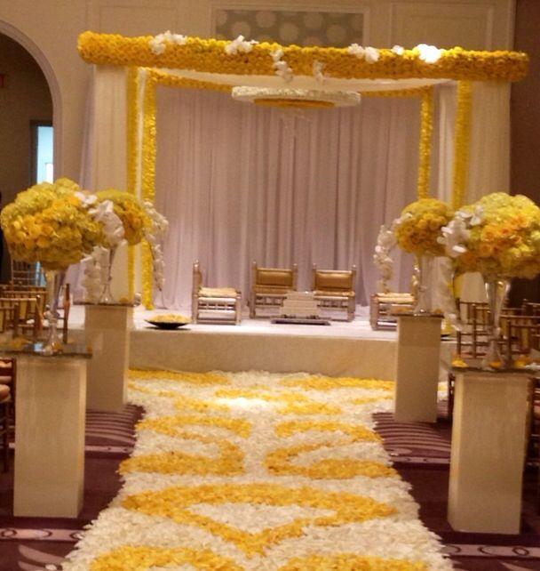 Soma Sengupta Indian Wedding Decorations White Yellow Mandap So Beautiful