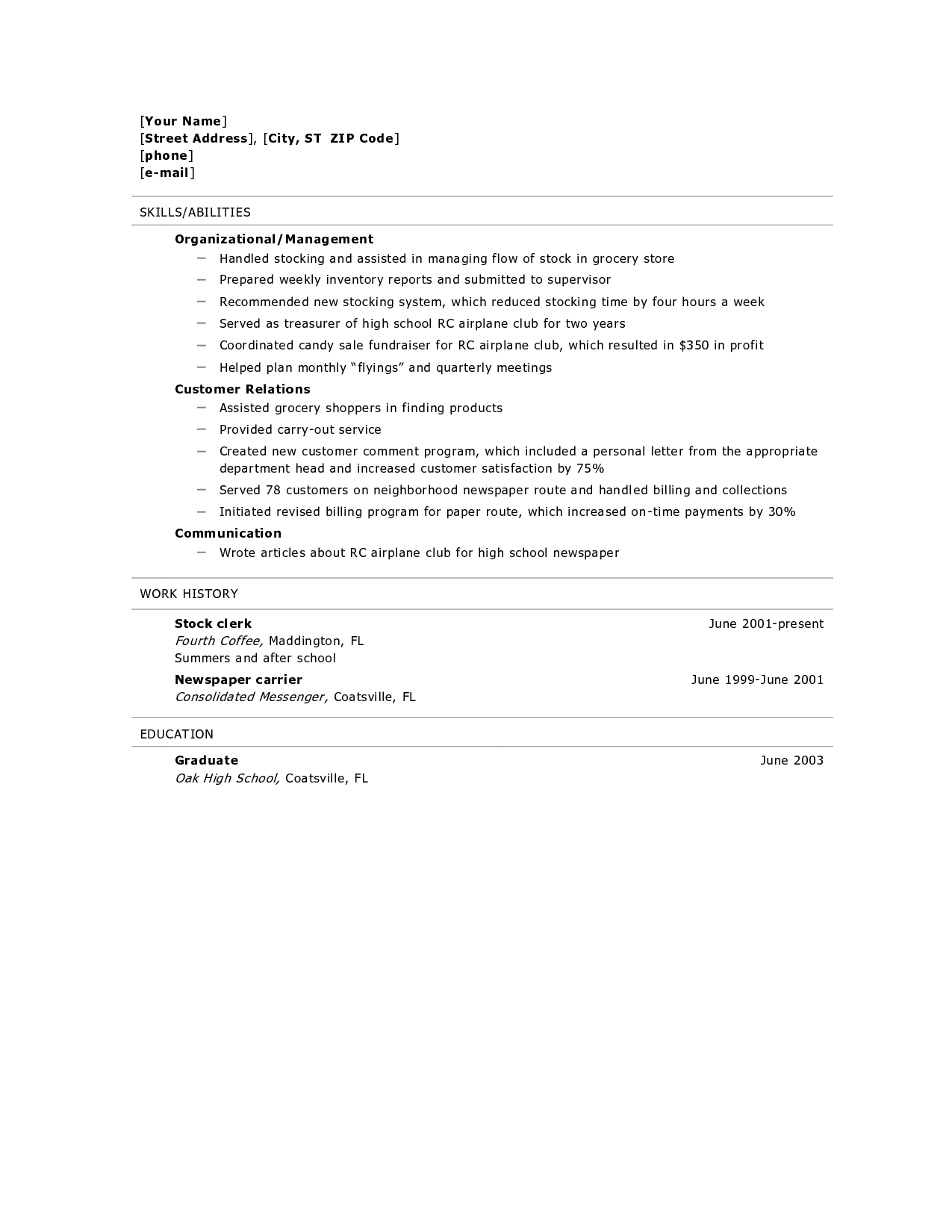 Teenage Resume Template Resume For High School Graduate Resume Builder Resume Templates