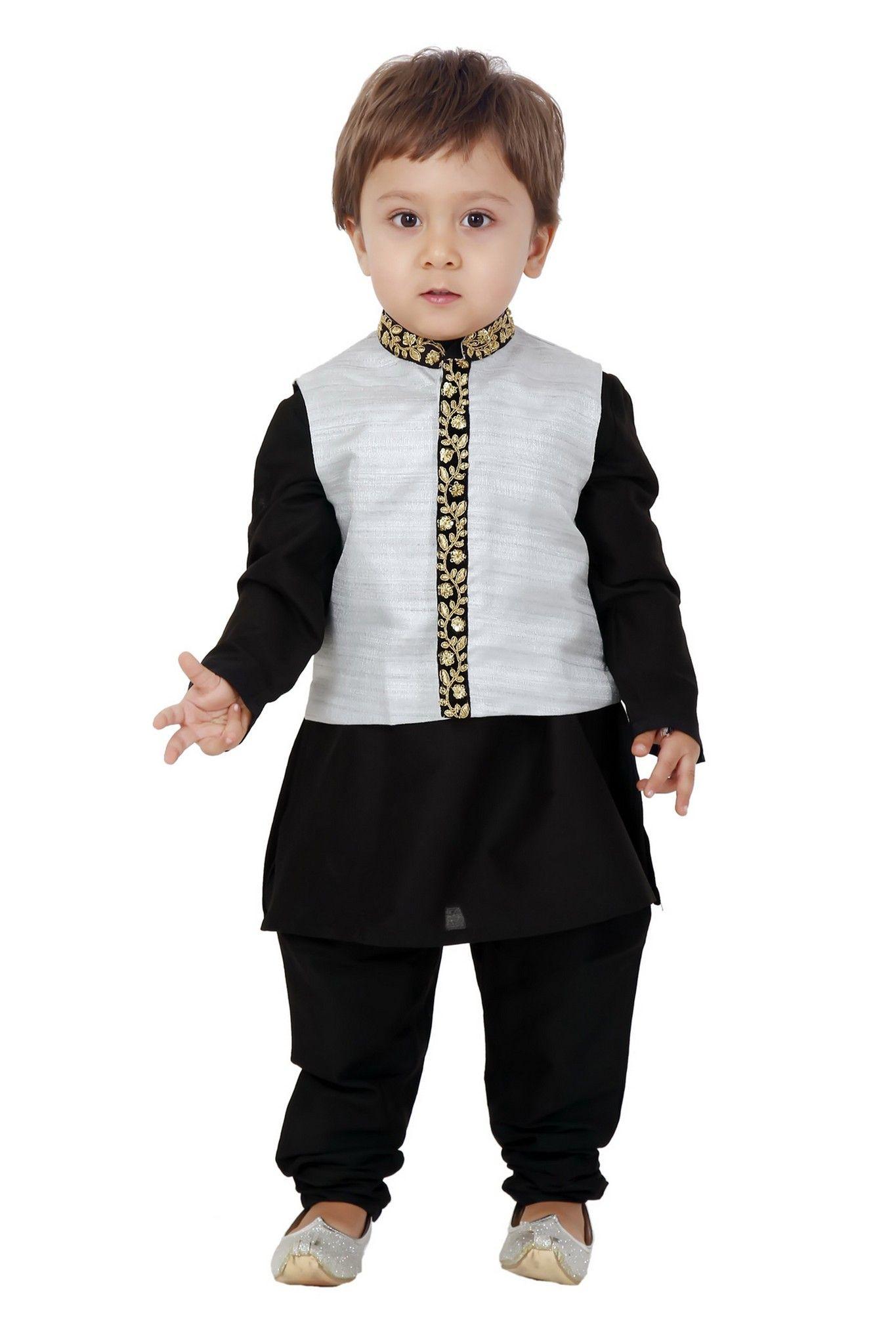 Black Jacquard designer Kids Wear Kurta Pajama for all occasions