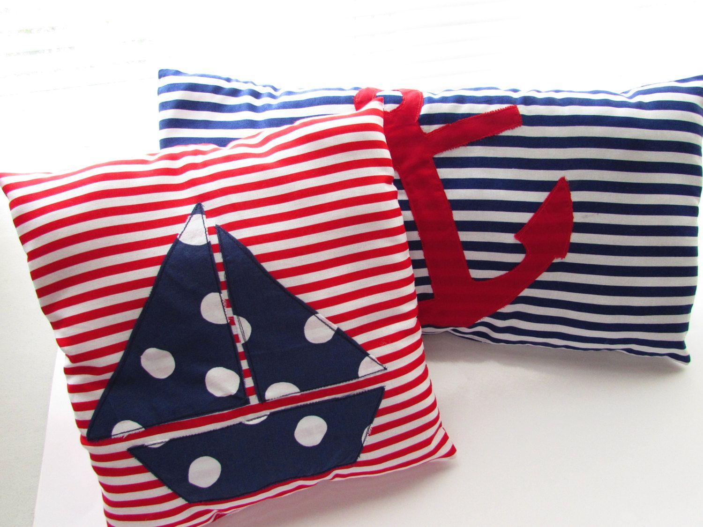 Nautical pillows Nursery Decor Beach house pillows Red white