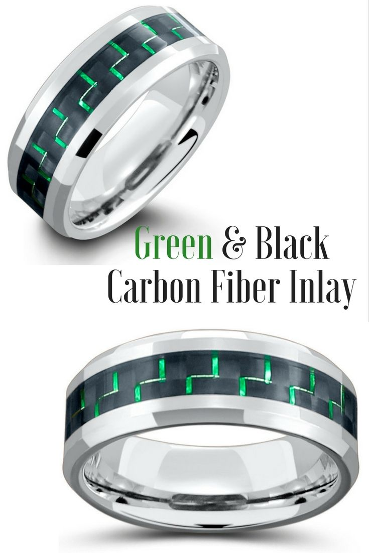 Mens Tungsten Carbide Wedding Band With Black & Green Woven Carbon Fiber Inlay. This tungsten wedding ring is crafted with silver polished beveled edges.