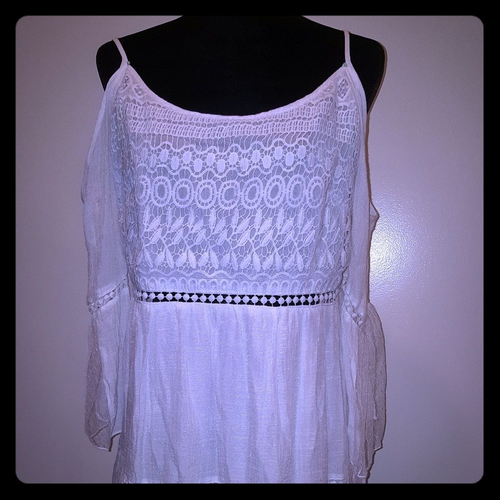 Nwt-Women'S White Boho Chic Dress