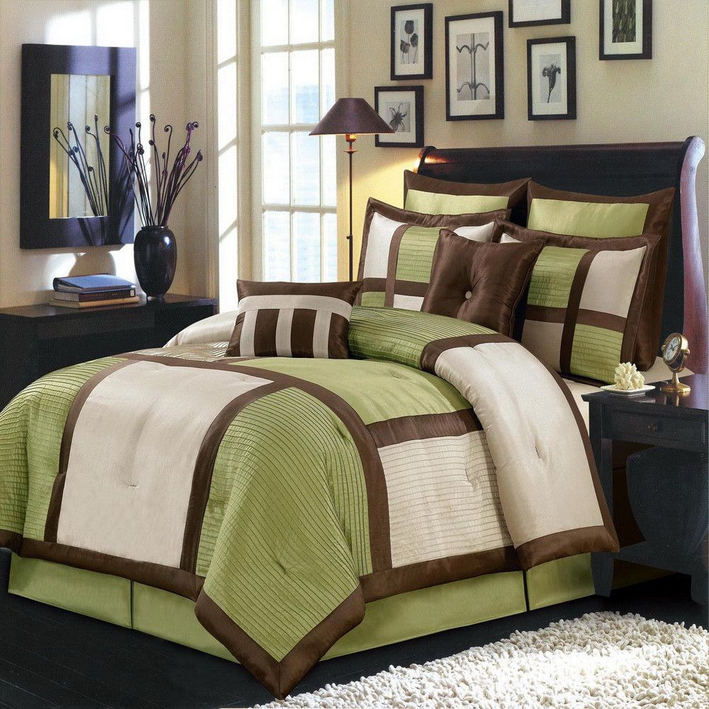 8pc Modern Color Block Sage Green Ivory Comforter Set