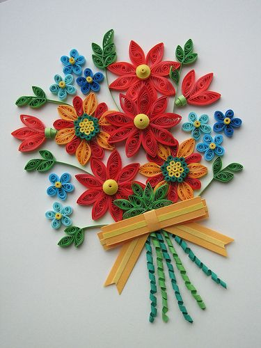 Floral Bouquet Quilled Flowers Quilling Dolls Paper Quilling