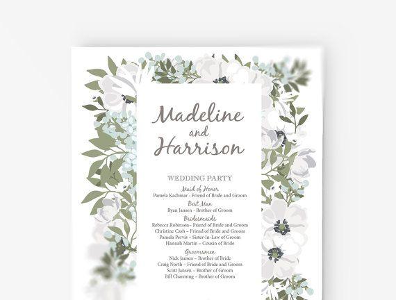 Wedding Program Template Editable Word template Instant Download