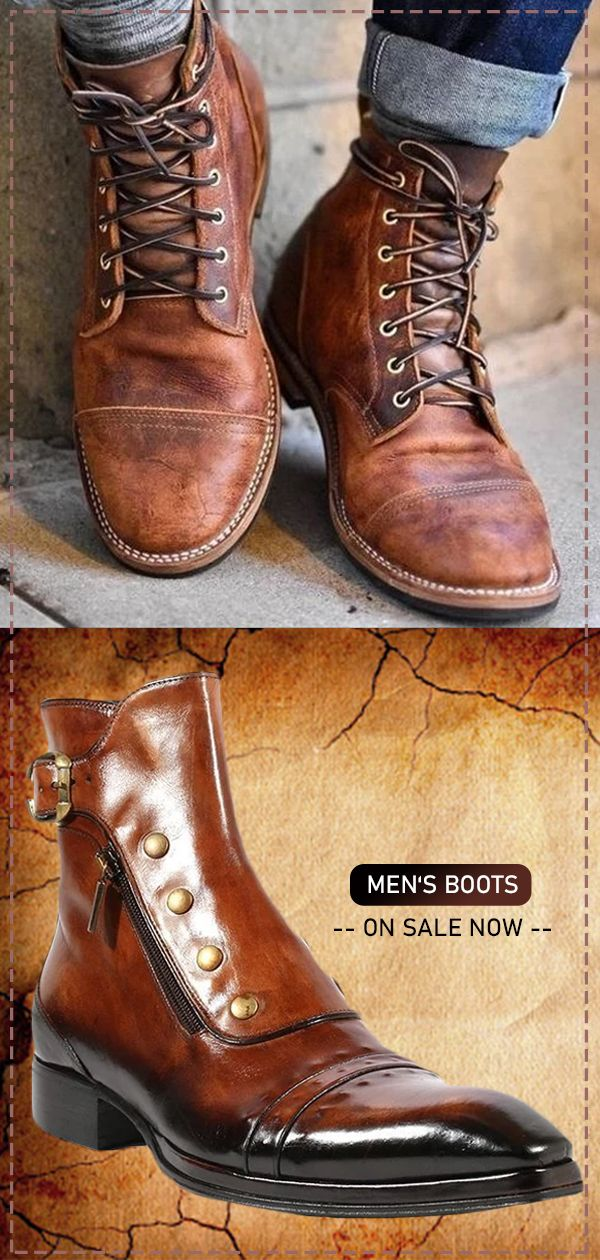 Men Vintage Genuine Leather Ankle Boots