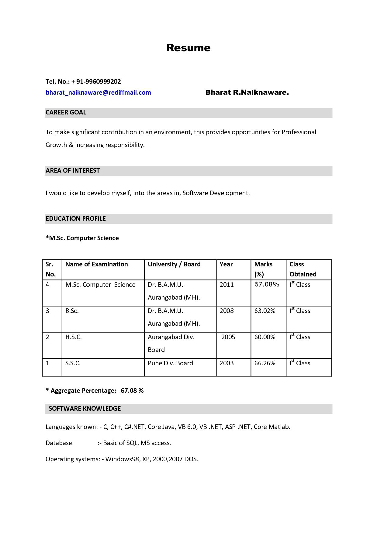 Best Resume Format Pdf For Freshers Sample Job Resume Format Vinay