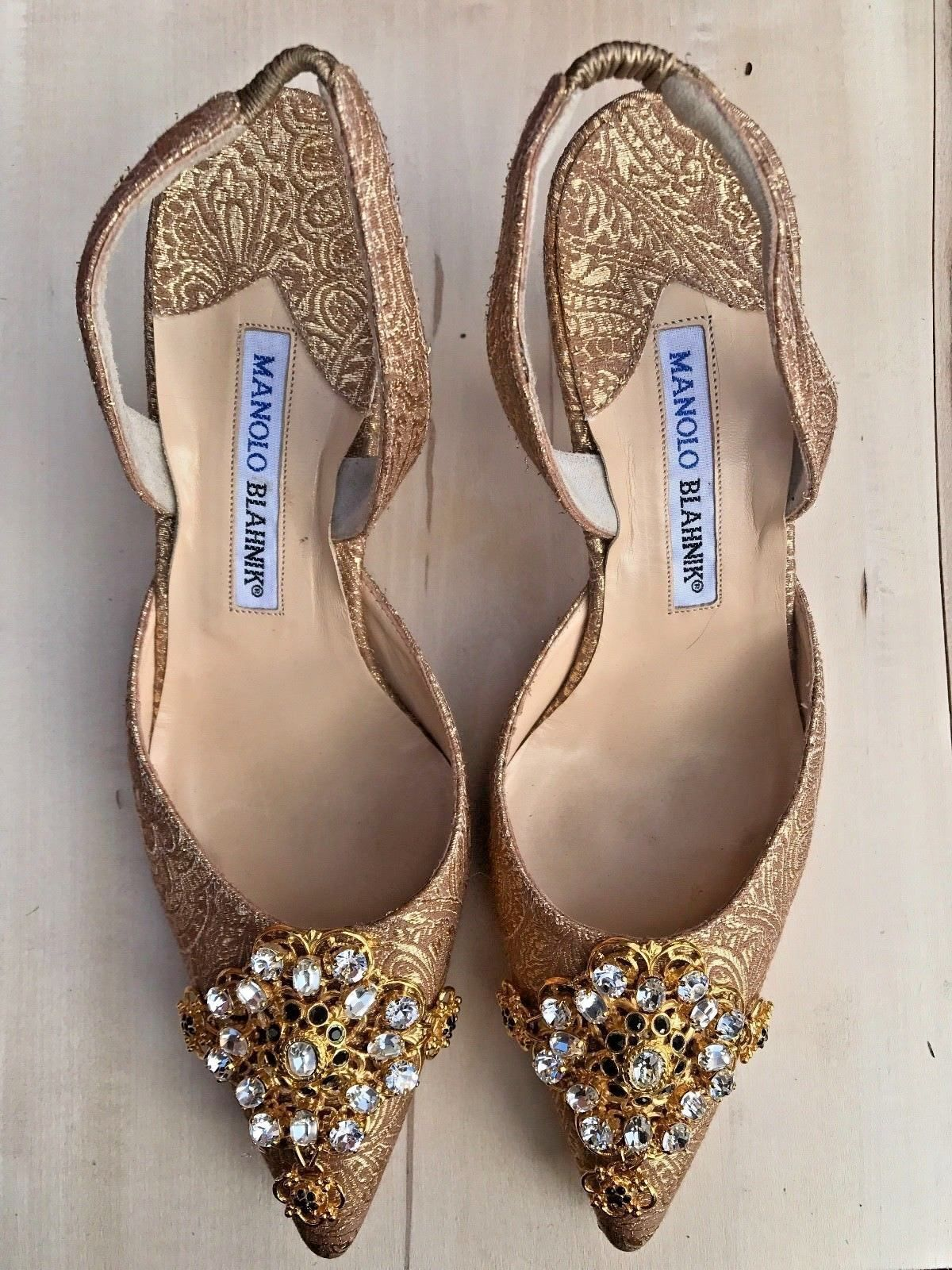 Manolo Blahnik 37 Exclusively Neiman Marcus Gold Jeweled Evening Shoes 745 Manolo Blahnik Heels Manolo Blahnik Heels