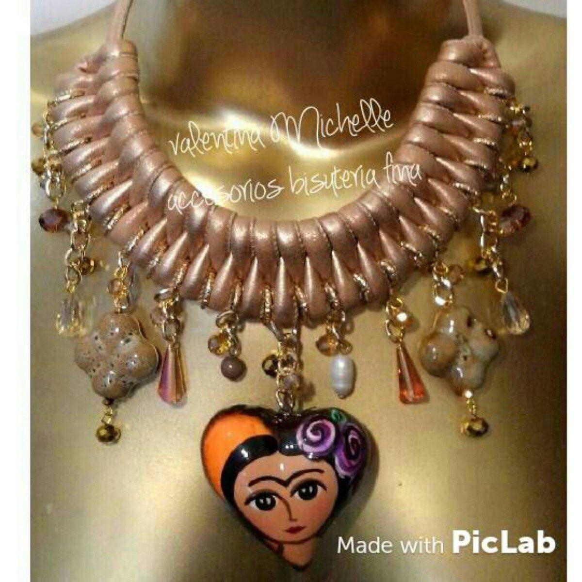 5bea6fd1bf4c Artesanal Collar Frida Kahlo Dije Corazon Pintando A Mano -   199.00 en  MercadoLibre