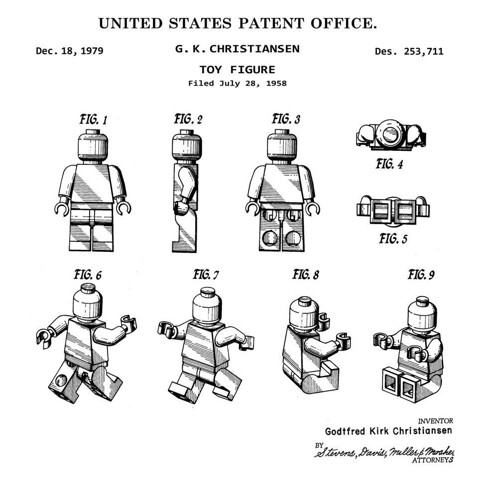 Vintage Patent Print Drawing Lego Man Figure 1979 Display 10 X 8