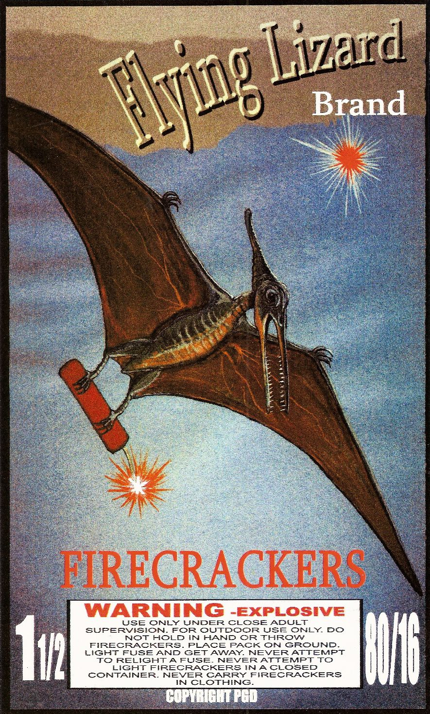 Flying #Lizard Firecracker Label