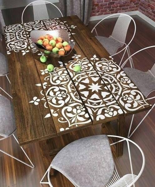 outdoor table deco pochoir meuble pochoir mural et. Black Bedroom Furniture Sets. Home Design Ideas