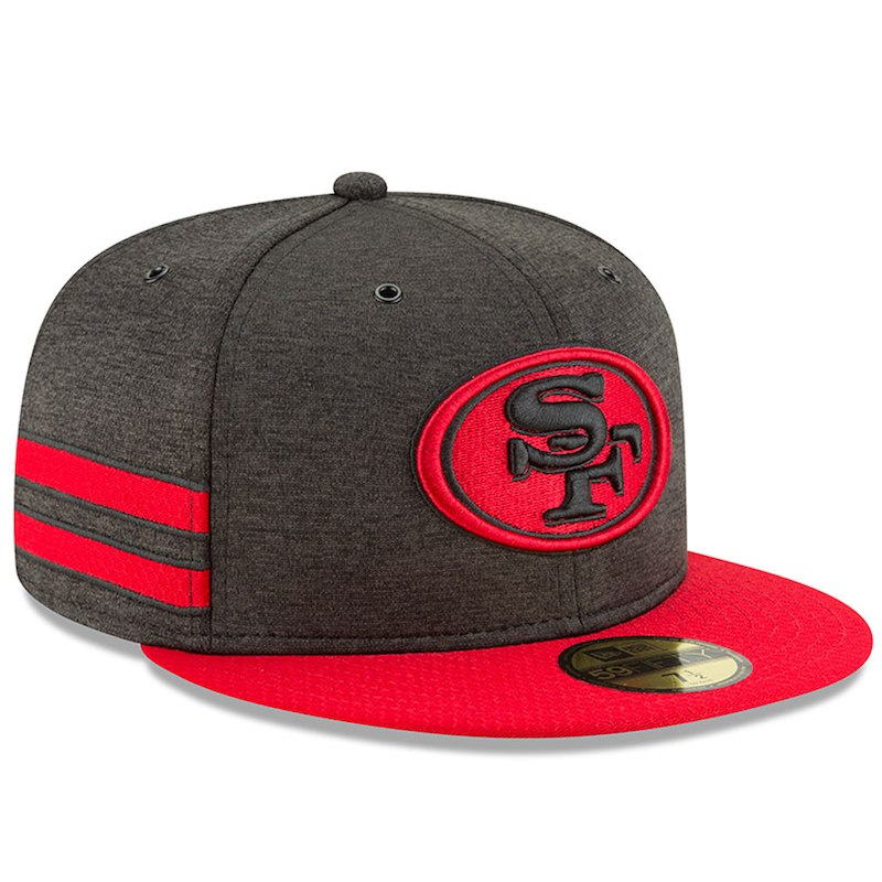 0ea3a02dee9 San Francisco 49ers New Era 2018 NFL Sideline Home Official 59FIFTY Fitted  Hat – Black Scarlet