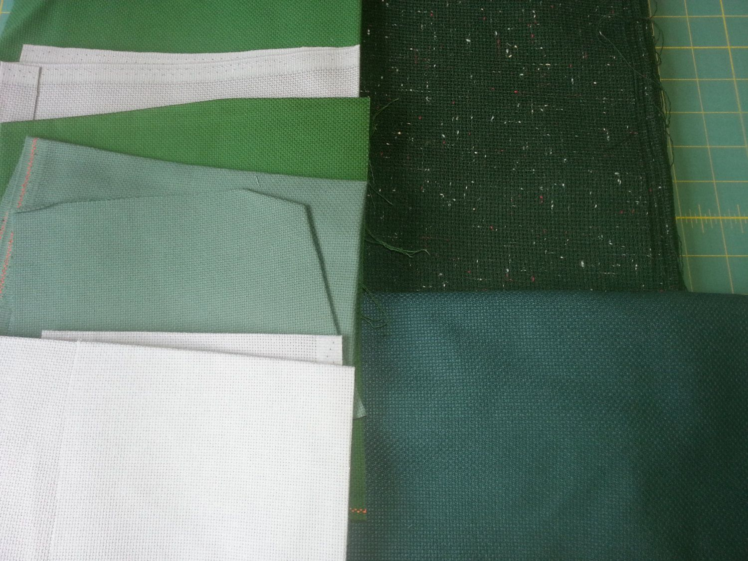 Cross Stitch Fabric / Mixed Lot / Green & Grey Color Families ...