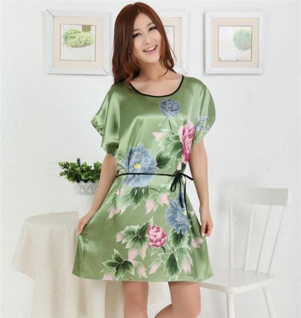 Hot Sale Female Summer Faux Silk Bathrobe Nightwear Women Casual ...