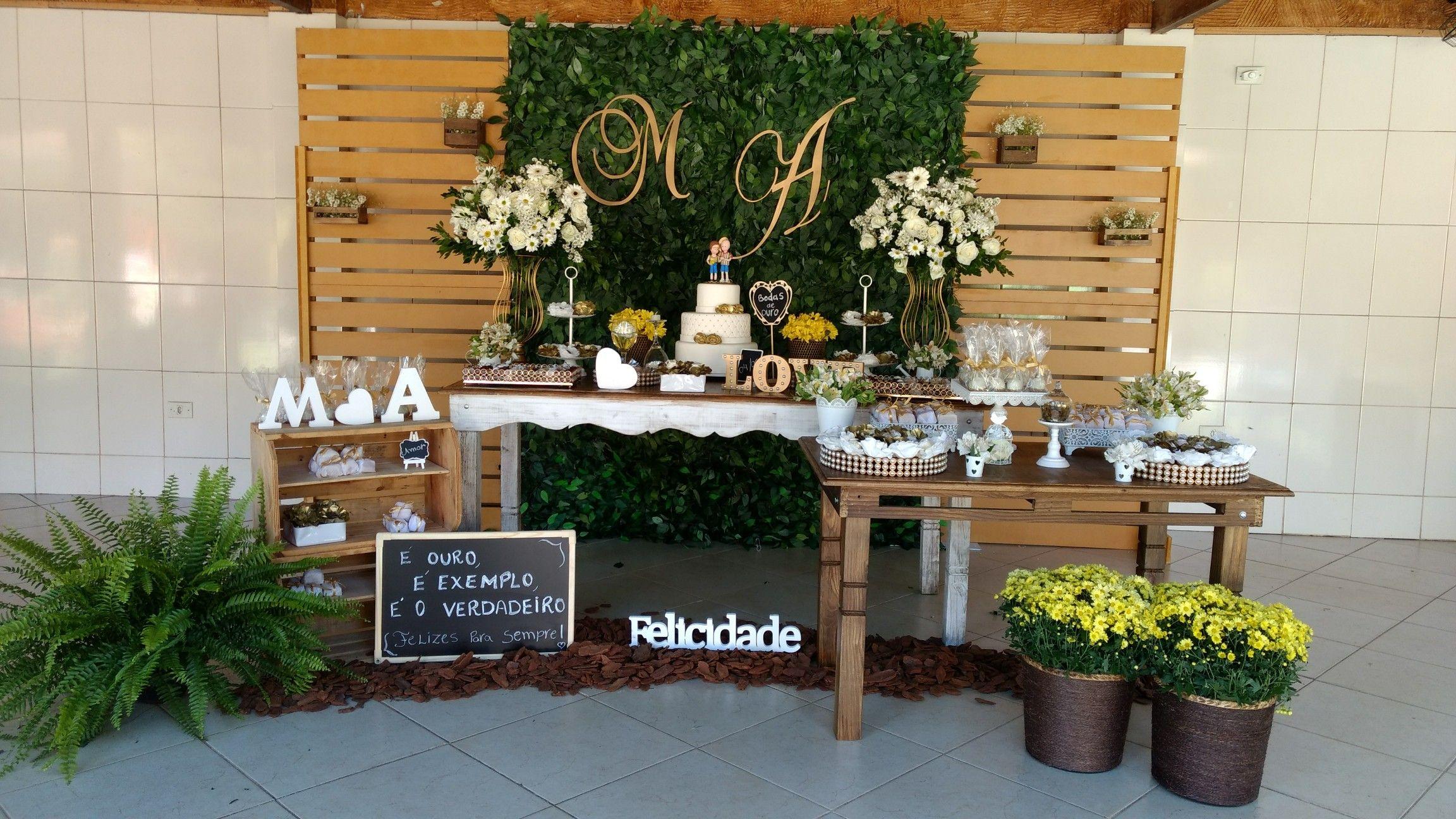 28 Pin de Talicia Pimenta em bodas de ouro   Decoração rústica, Chá ...