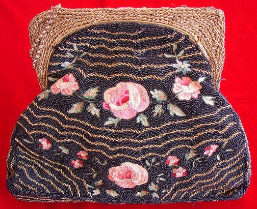 Maria Niforos - Fine Antique Lace, Linens & Textiles : Antique & Vintage Accessories # AC-15 Lovely Beadwork Bag w/ Ornate Clasp