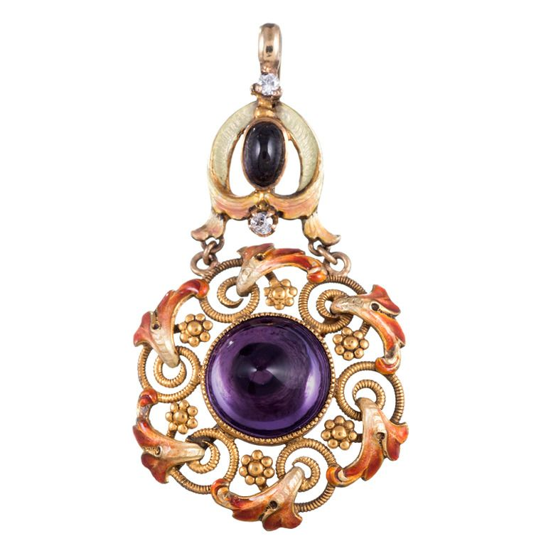 "Circa 1890 Foiled Sugar-Loaf Amethyst Pendant, Signed ""RIKER"" 