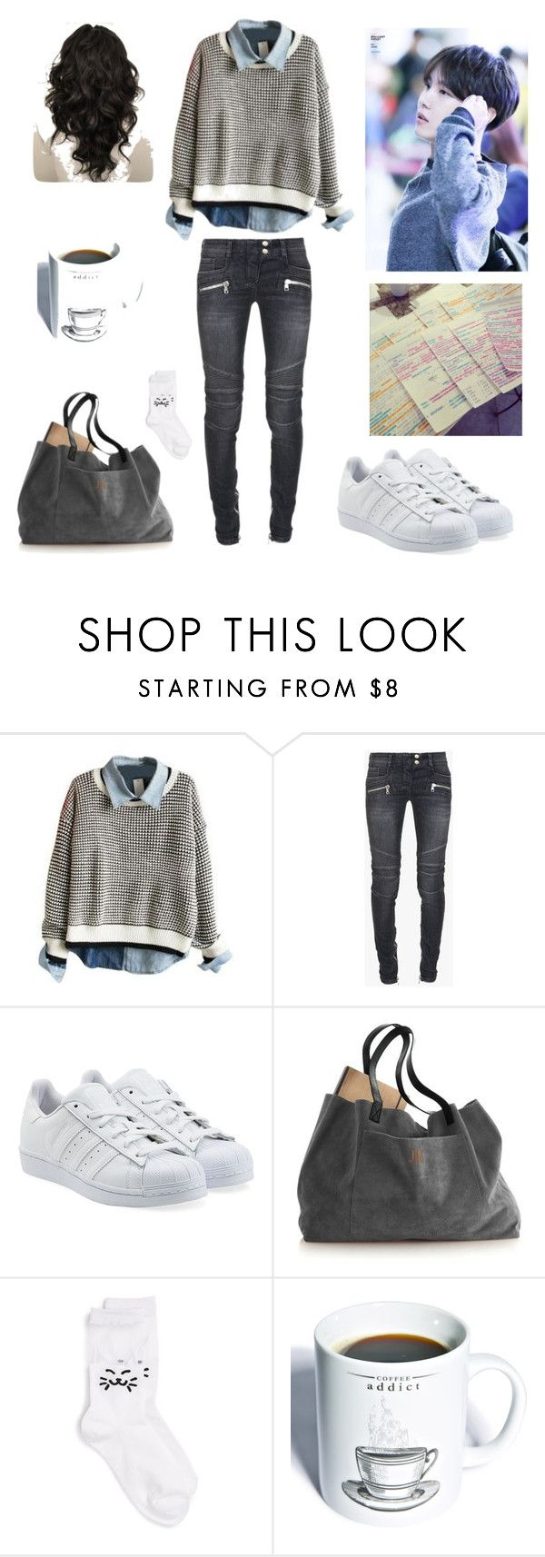 """""""#33"""" by mygreekaesthetic ❤ liked on Polyvore featuring Balmain, adidas Originals, Girly, Gift Republic, women's clothing, women, female, woman, misses and juniors"""