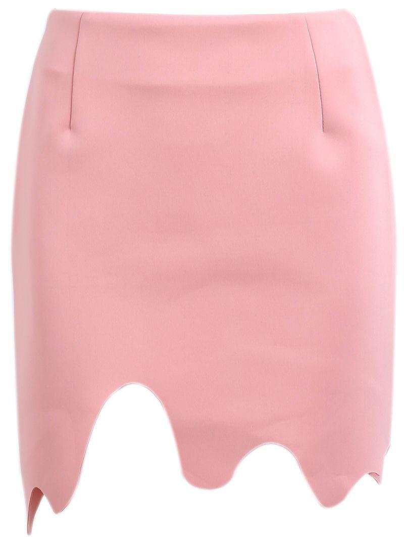 Pink Asymmetrical Bodycon Skirt - Sheinside.com make in red ...