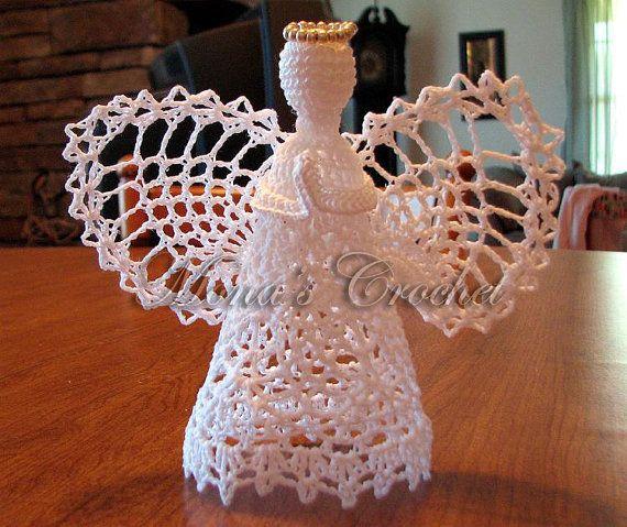 Hand Crocheted Pineapple Praying Angel  Crochet by MonasCrochet