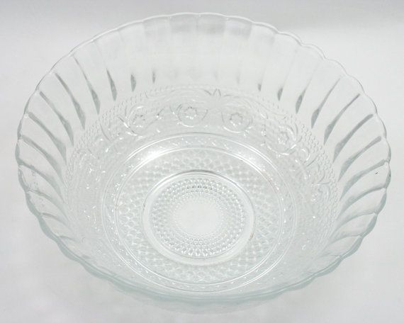 vintage kig indonesia trellis clear cut glass bowl diamonds