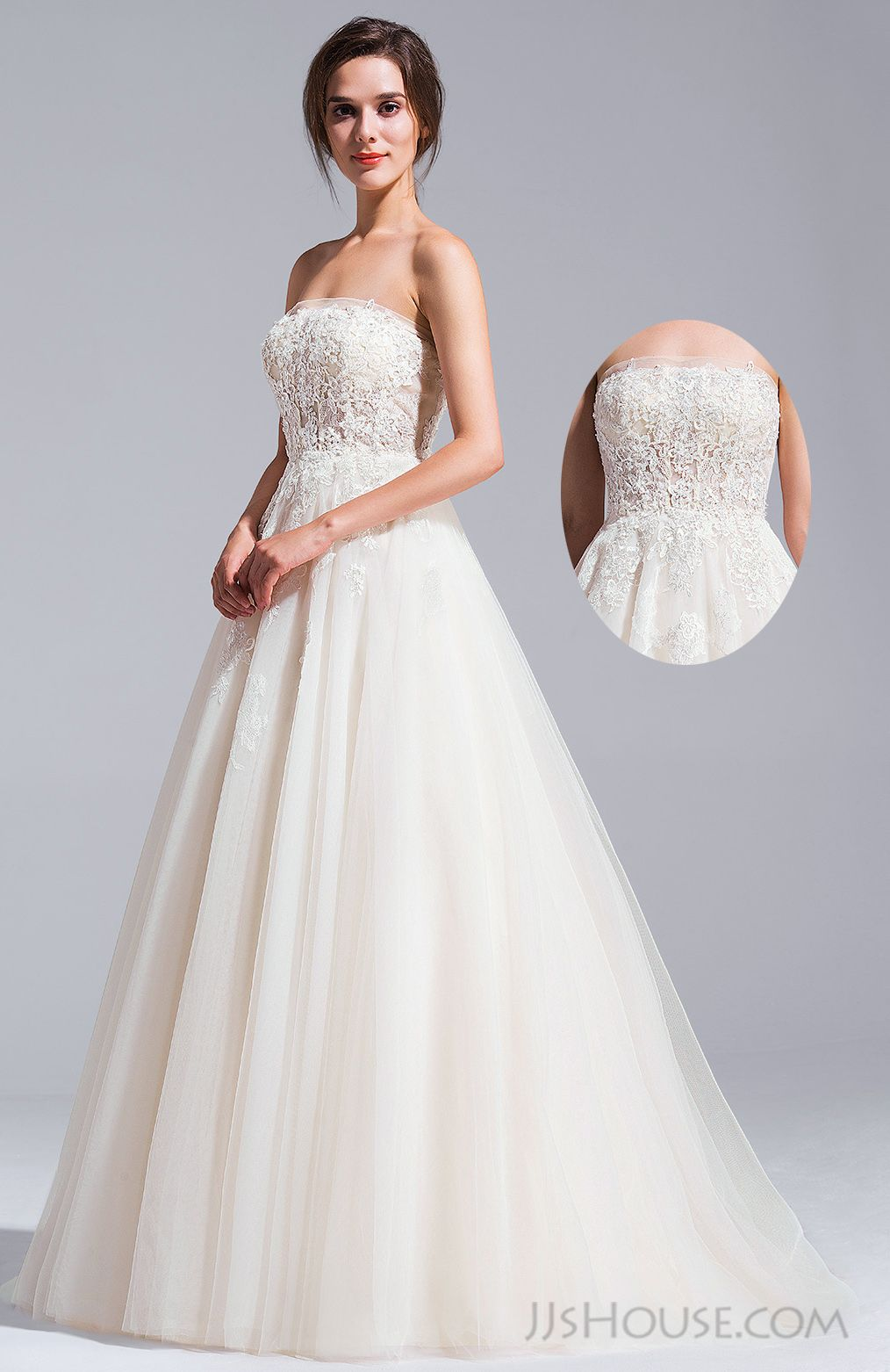 [US 370.00] BallGown Strapless Cathedral Train Tulle