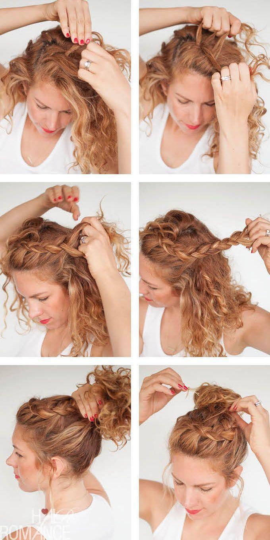 Hair Tutorials Tutorial Curly Braided Top Knot Beauty Haircut Home Of Hairstyle Ideas Inspirati In 2020 Curly Hair Tutorial Curly Hair Styles Curly Hair Braids