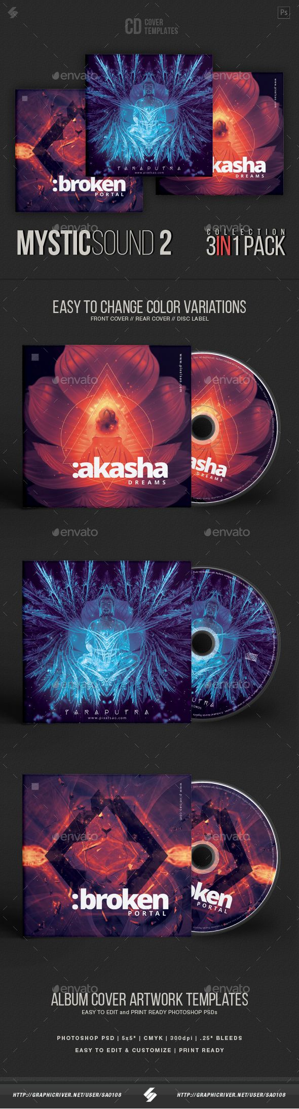 mystic sound collection 2 - #cd cover artwork templates bundle, Powerpoint templates