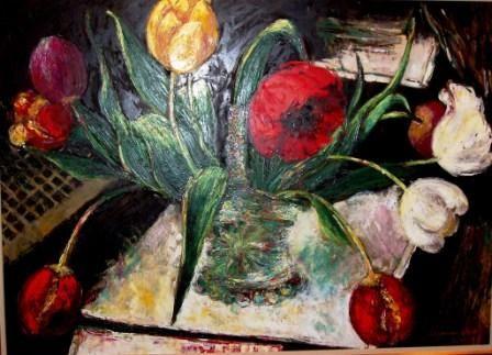 'Dancing Tulips in A Glass Basket' by Arianna Caroli.
