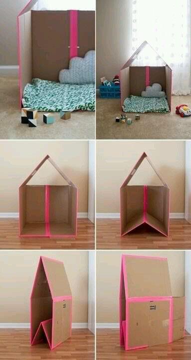 Maison de carton pliable pour les enfants cool diy enfants cabane en carton maison en - Maison pliable ...