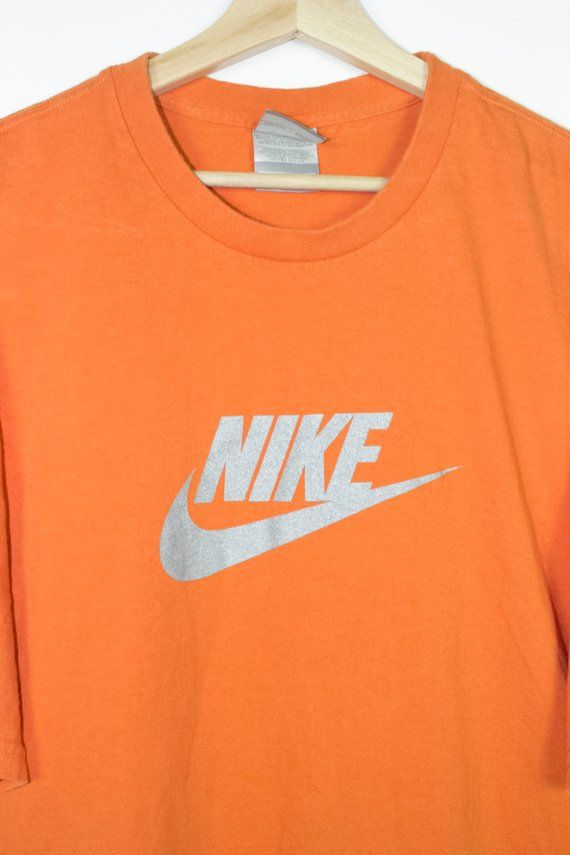 classic beauty buy orange nike t shirt with silver swoosh logo - mens xxl in ...