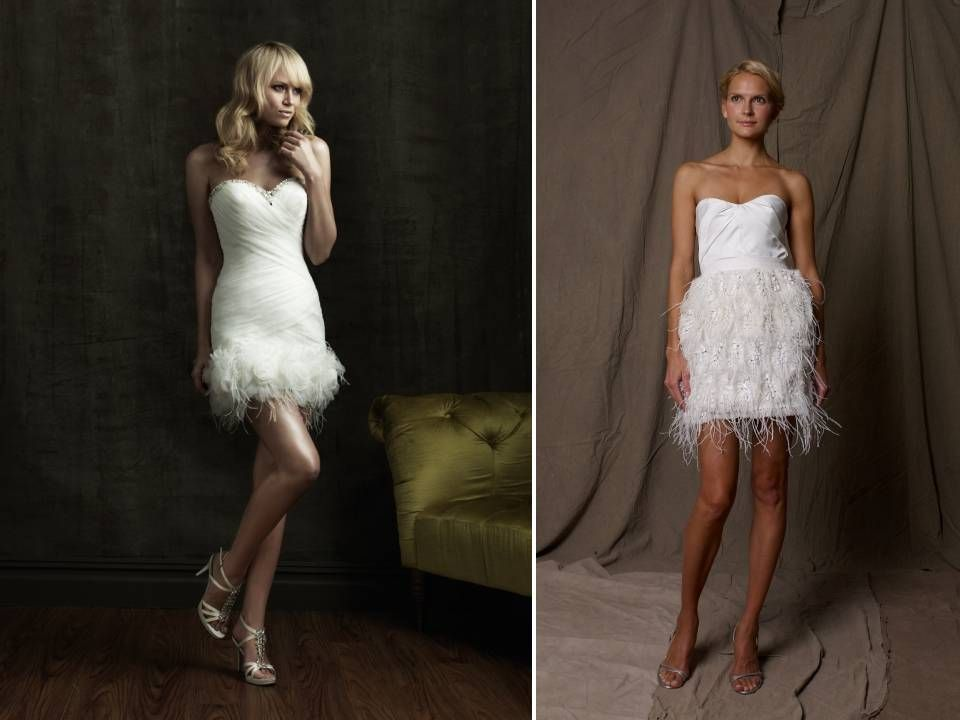 White Feather Wedding Dress Short Reception Dresses With Details Onewed