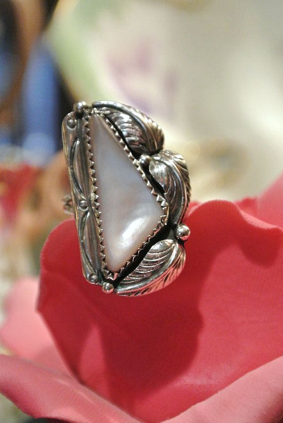 Vintage Ring Sterling Pink Mother of Pearl by PattysPorcelainEtc