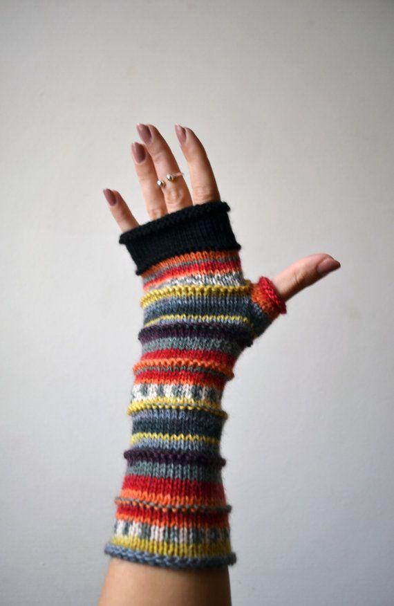 Merino Wolle fingerlose Handschuhe - Knit Fingerless Handschuhe ...