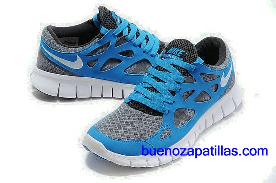 huge selection of ae524 8c459 Mujer Nike Free Run 2 Zapatillas (color   vamp - gris, azul , en el  interior - negro , logo y unico - blanco)
