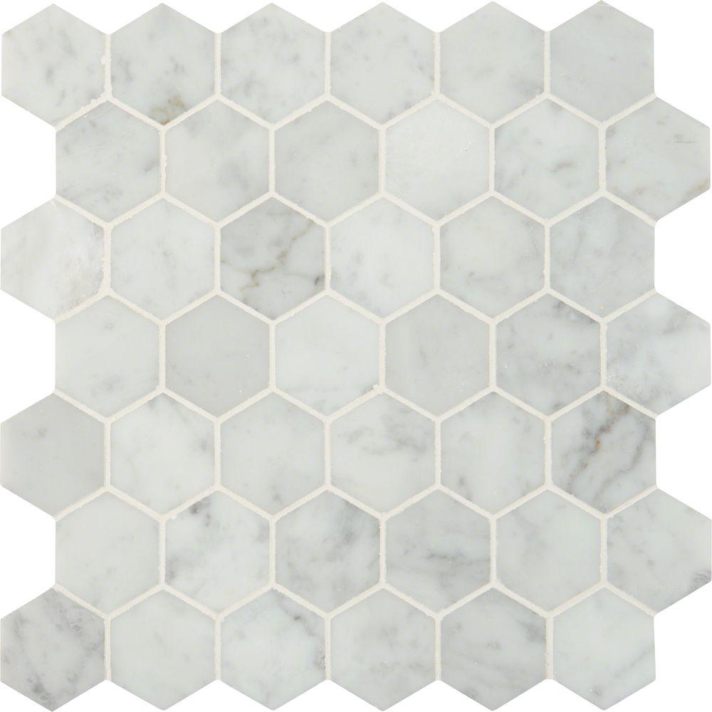 Ms International Carrara White Hexagon 12 In X 12 In X 10 Mm Polished Marble Mesh Mounted Mosaic Floor And Wall T Mosaic Flooring Hexagon Mosaic Tile Carrara