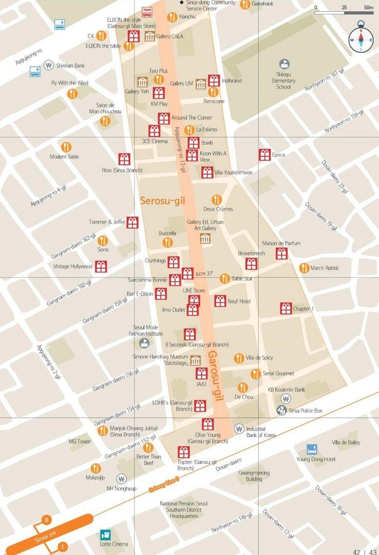 Sinsadong and Garosugil Maps Pinterest Seoul South korea