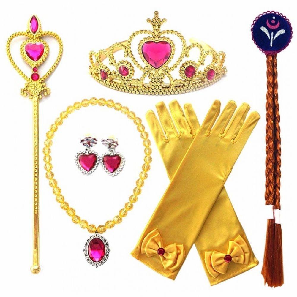 Frozen elsa dress up party accessories crown wig magic wand glove