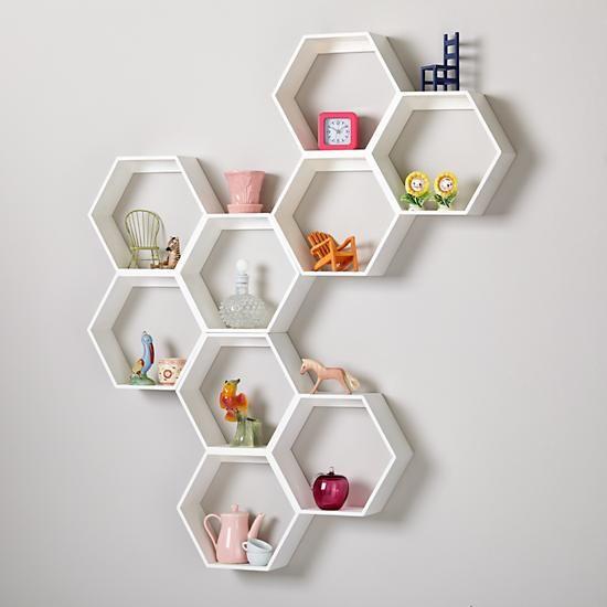 honeycomb wall shelf white