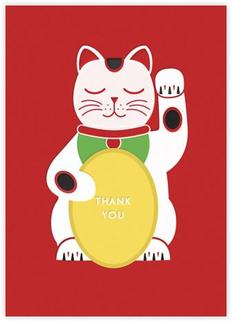 Thank You Lucky Cat Birthday Cards For Her Birthday Cards