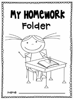 homework folder coloring page for boys and girls
